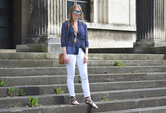 Pinstripe and white pants