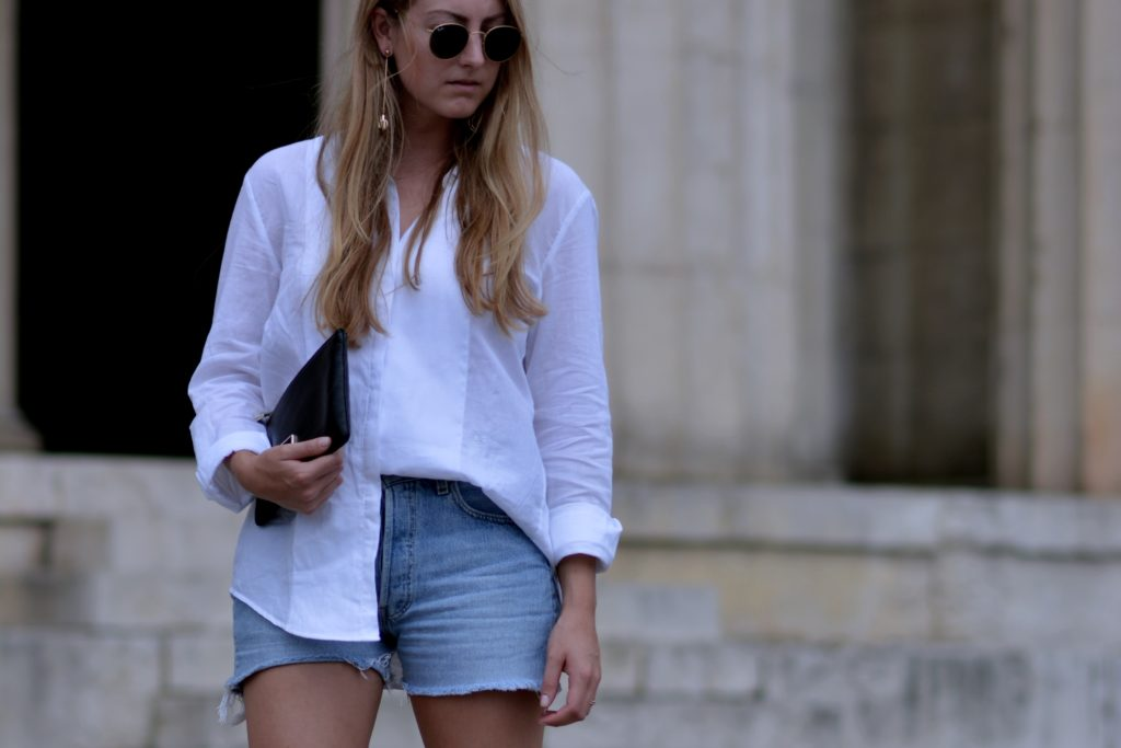 WHITE SHIRT AND DENIM SHORTS