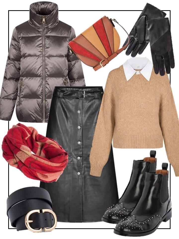 Winterlook rund um einen Lederrock
